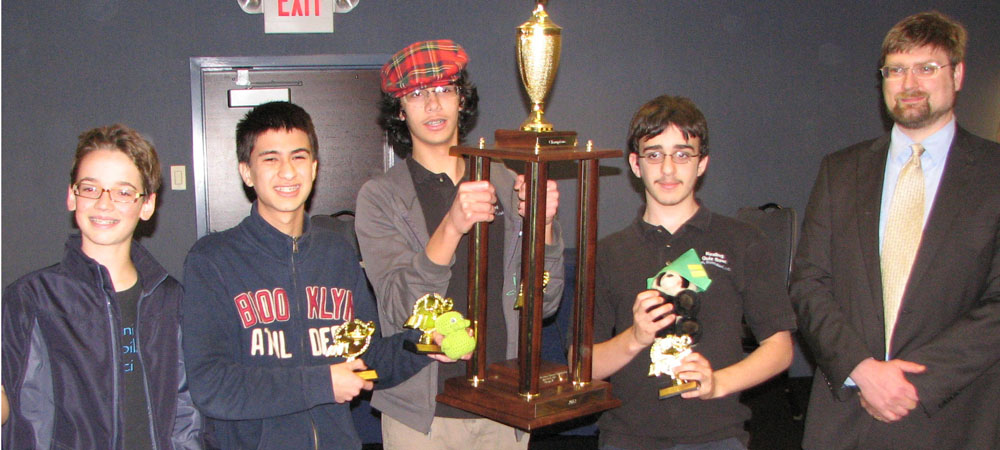 Kealing with their first-place trophy from the 2012 Middle School National Championship Tournament