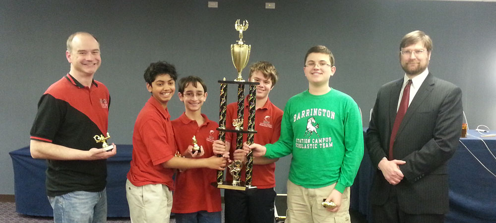 Barrington Station with their first-place trophy from the 2013 Middle School National Championship Tournament