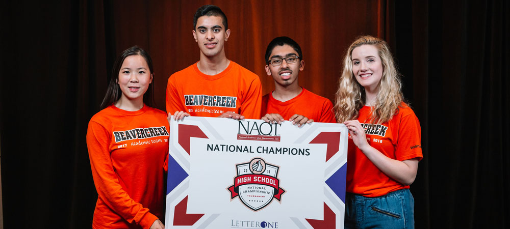 Beavercreek High School with their first-place trophy from the 2019 High School National Championship Tournament, powered by LetterOne