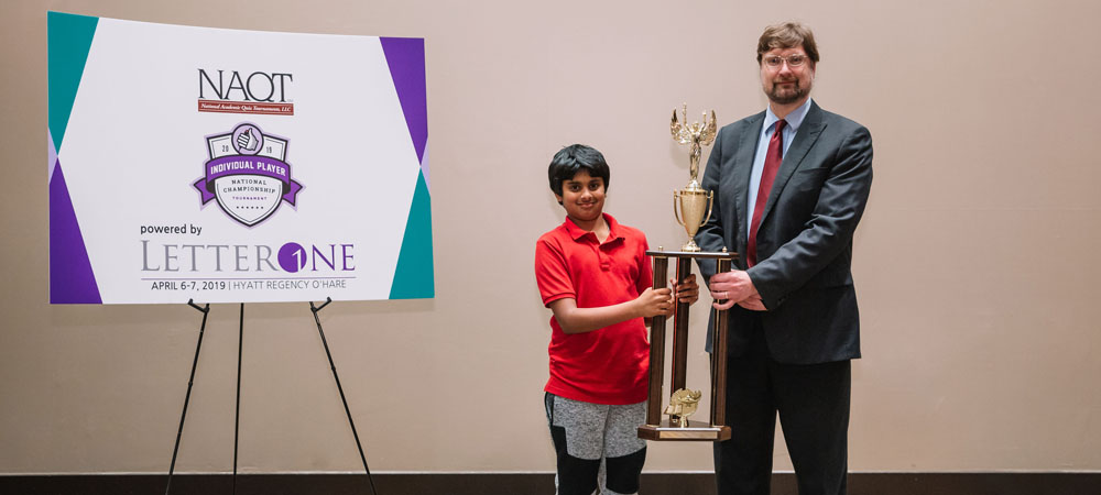 Arin Parsa, champion of the 2019 Individual Player National Championship Tournament's Middle School Division